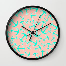 Tropical turquoise nautical anchors on pastel blush pink Wall Clock