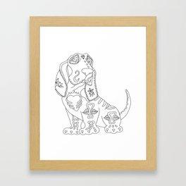 Color Me Sugar Skull Basset Hound Framed Art Print