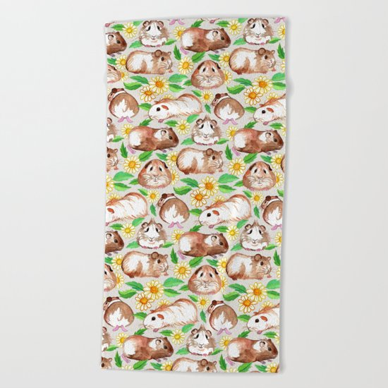 Guinea Pigs and Daisies in Watercolor Beach Towel