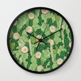 Cacti Camouflage, Succulent Bloom Floral Pattern Paper Collage Green White Wall Clock