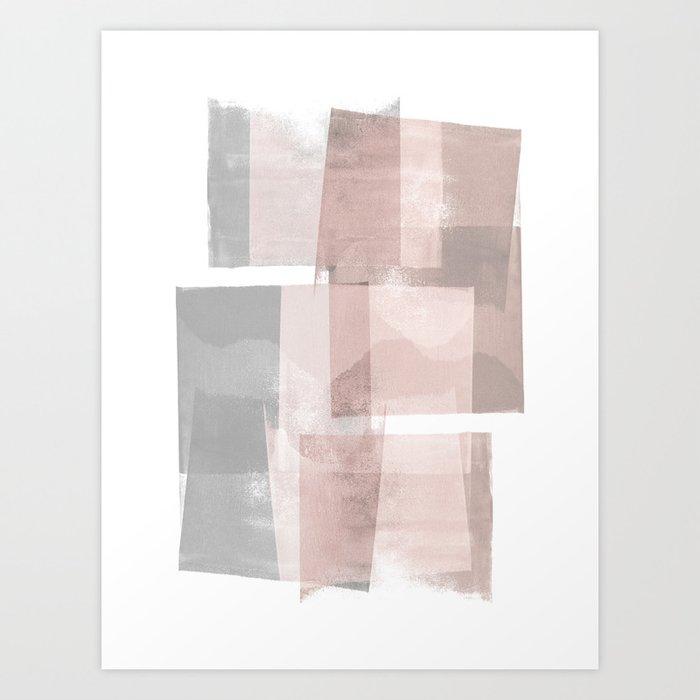 "Grey and Pink Minimalist Geometric Abstract ""Building Blocks"" Art Print by  mininst"