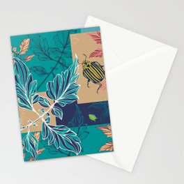 Tomatoes leaves and beetle -Mosaic Pantone palette Stationery Cards
