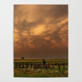 Afterglow - Clouds Glow After Storms at Sunset Poster