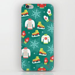 Christmas Sweaters, Ice Skates and Mittens Pattern iPhone Skin