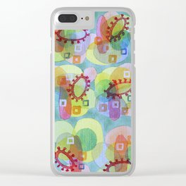 Lovely Pattern with Red Rings Clear iPhone Case