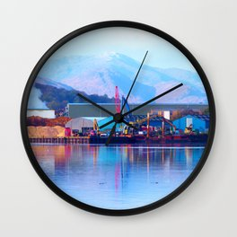 Industrial reflection at mountains edge Wall Clock