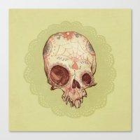 sugar skull Canvas Prints featuring Sugar Skull by Audrey Benjaminsen