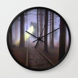 Halloween Creepy Haunted House In The Foggy Dark Forest Ultra HD Wall Clock
