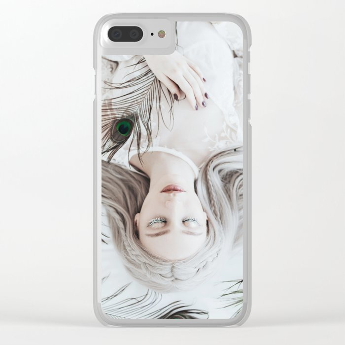 White peacock Clear iPhone Case
