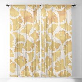 Abstraction_GOLDEN_Ginkgo_Pattern_Minimalism_001 Sheer Curtain
