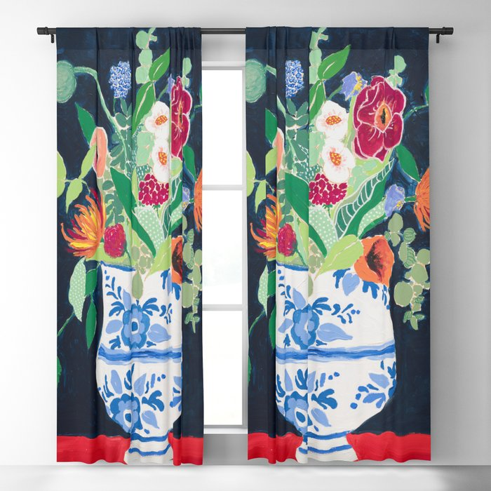 Bouquet of Flowers in Blue and White Urn on Navy Blackout Curtain
