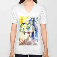 mustang V-neck T-shirts featuring Watercolor Mustang by Madkazer Designs