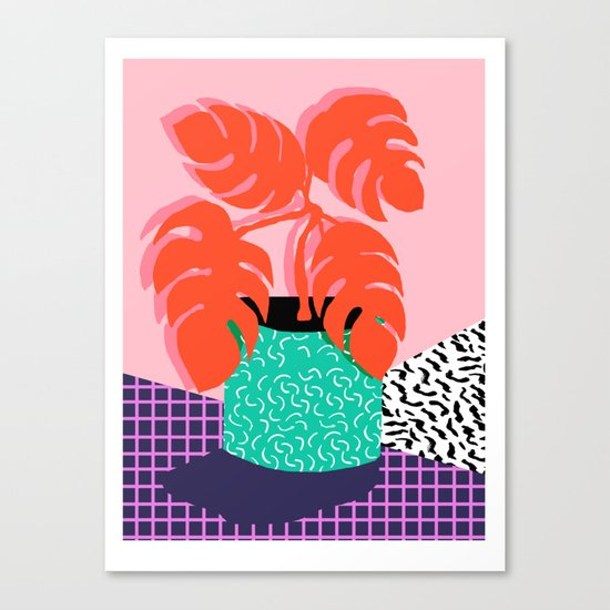 Mung - throwback retro 80s style neon art print pink hipster decor trendy grid urban brooklyn house  Canvas Print