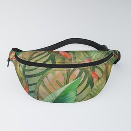Painted Jungle Leaves 2 Fanny Pack