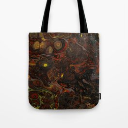 Fluid Art Acrylic Painting, Pour 21, Black, Red, Yellow & Gray Blended Color Tote Bag