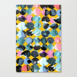 Yellow and blue ink dots Canvas Print