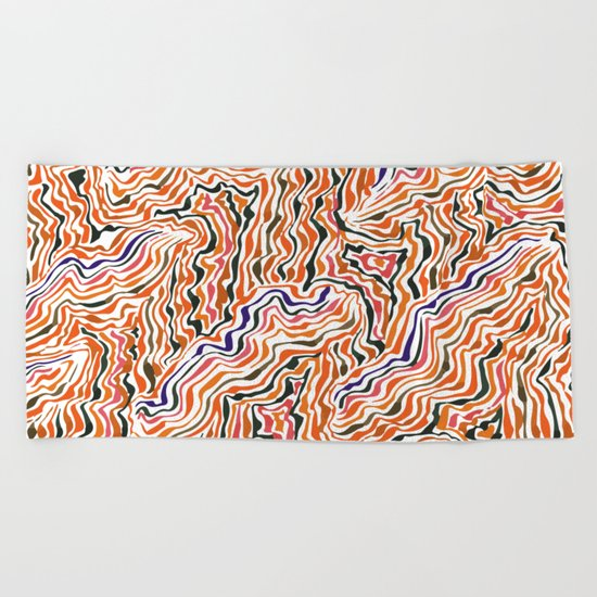 red topography Beach Towel