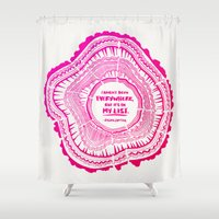 literary Shower Curtains featuring My List – Pink Ombré Ink by Cat Coquillette