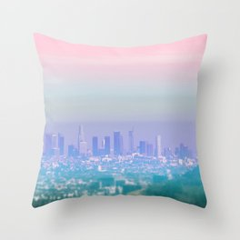 Los Angeles Scenic Southern California Landscape Colored Sun Haze Wall Art Print Throw Pillow