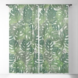 Exotic Palm Leaf Pattern Sheer Curtain
