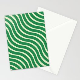 Abstract Waves illusion Pattern - Jungle Green Stationery Cards
