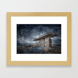 Poulnabrone Dolmen - Blue Winter Grunge Framed Art Print