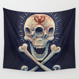 Biohazard triple eye skull Wall Tapestry