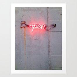 Neon Pink Open Sign Art Print
