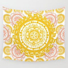 Citrus and Salmon Colored Mandala Textile Wall Tapestry
