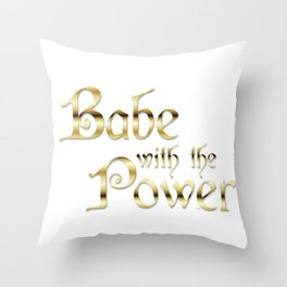 Labyrinth Babe With The Power (white bg) Throw Pillow