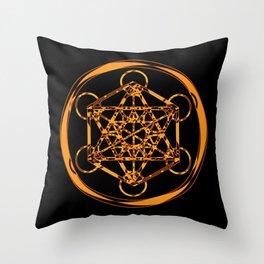 Metatron Cube Gold Throw Pillow