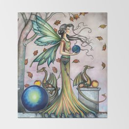 Hope Stones Fairy and Dragons Fantasy Illustration by Molly Harrison Throw Blanket