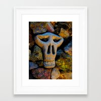 minerals Framed Art Prints featuring skull and minerals by giol's