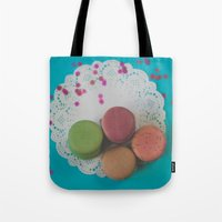 macarons Tote Bags featuring Macarons by Jessica Torres Photography