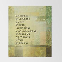 Serenity Prayer Abstract Landscape Green Throw Blanket