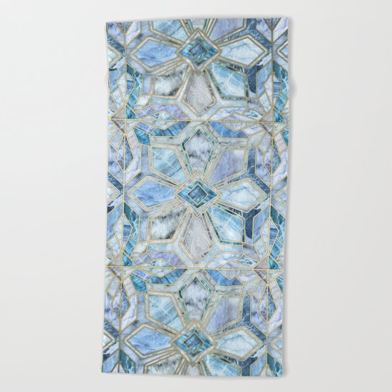 Geometric Gilded Stone Tiles in Soft Blues Beach Towel