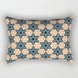 Blue Flower Kaleidoscope Pattern on Beige Background Rectangular Pillow