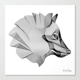 """""""Favorite Collection"""" - Abstract Lines Wolf Print Canvas Print"""