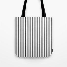Black and White English Rose Trellis in Mattress Ticking Stripe Tote Bag