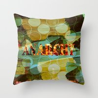 sons of anarchy Throw Pillows featuring anarchy by laika in cosmos