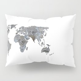 Map of the world from crumbling walls Pillow Sham