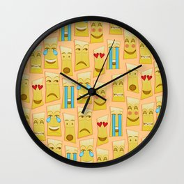 Tiki Emojis by Naoma Serna Wall Clock