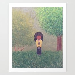 Landscape, girl with her cat Art Print