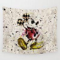 mickey Wall Tapestries featuring Vintage Mickey by bydinahartandi