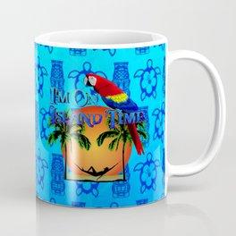 Blue Tikis Island Time And Parrot Coffee Mug