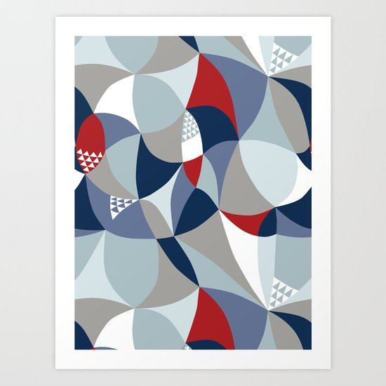 hidden birds in blue Art Print