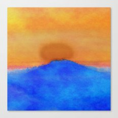 Blue landscape at sunset Canvas Print