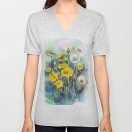 Watercolor dandelion flowers illustration Unisex V-Neck