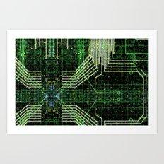 Circuit board very green zoom Art Print