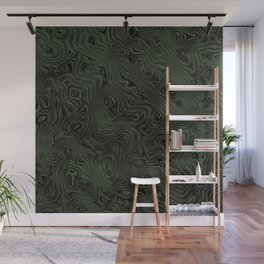 Green Silk Moire Pattern Wall Mural